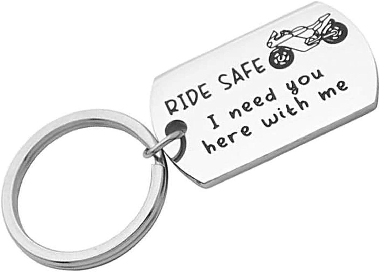 Aimrio Schmuck Herren Edelstahl Schlüsselanhänger Auto Ride Safe I Need You Here With Me Silber Schlüsselanhänger Charme Schmuck
