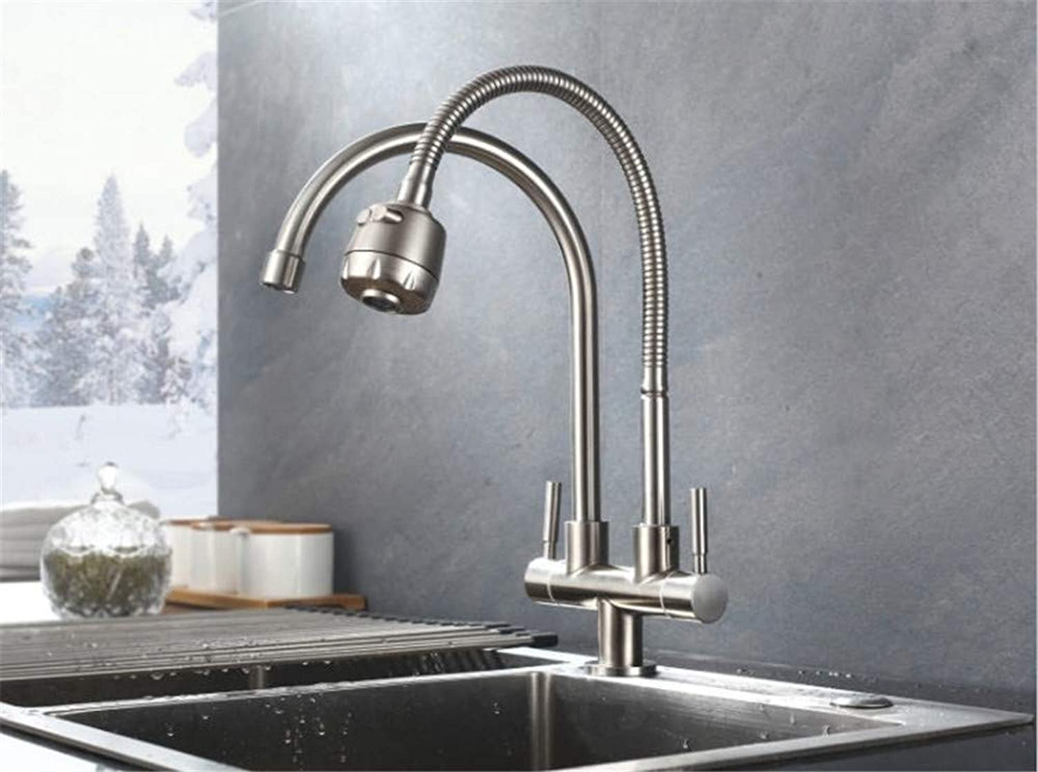 Oudan Reversible redary 304 Sink Faucet Single Cold Kitchen Faucet Twin Dual Cooling and Heating Basin (color   -, Size   -)