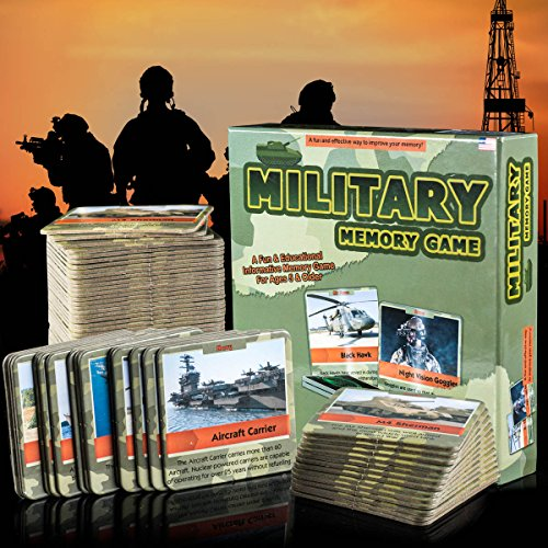 HSGUS Matching Card Game - Fun and Educational Memory Game - Authentic Photos and Fascinating Facts About The U.S. Military - 50 Extra Thick Cards - Fun and Easy - Educational Memory Card Game