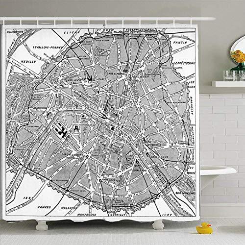 Juego de cortinas de ducha Ahawoso con ganchos Mapa París Francia Escala Dirección de representación Grabado vintage Terreno Signos físicos Símbolos Tela de poliéster impermeable Baño Decoración para