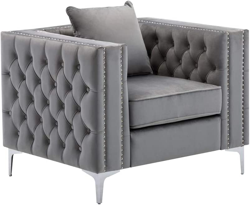 Lilola Home Lorreto Gray OFFicial shop Recommendation Chair Velvet