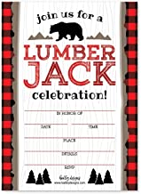 25 Lumberjack Bear Birthday Invitations, Woodland Camping Themed Party Invite, Outdoor Wood Plaid Forest Bday Event Supply Ideas, Kid Boys Baby Rustic Forest Hunting Printed or Fill in The Blank Card