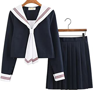 Evalent Japanese Anime Clothes Classic Navy Sailor Suit Girl Students School Uniforms White