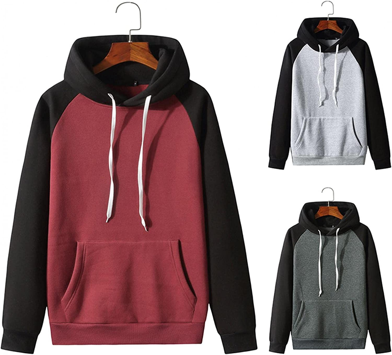 Hoodies for Men Men's Autumn Slim Casual Patchwork Hooded Long Sleeve Sweatshirt Top Blouse Fashion Hoodies And Sweatshirt