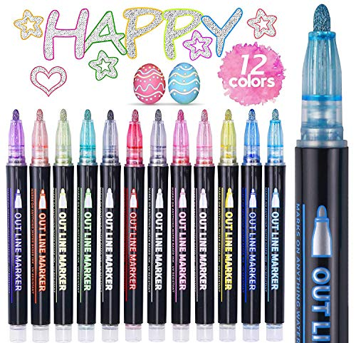 ECtury Outline Stifte Magische Stifte, 12 Farben Double Line Metallic Stifte Glitzerstifte, Glossy Magic Stift für Malen, Geschenkkarte, DIY Fotoalbum, Scrapbook, Basteln, Mädchen Geschenke 4-12 jahre