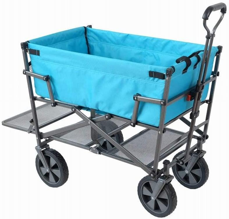 Mac Sports Double Decker Heavy Duty Steel Frame Collapsible Outdoor 150 Pound Capacity Yard Cart Utility Garden Wagon with Lower Storage Shelf, Blue