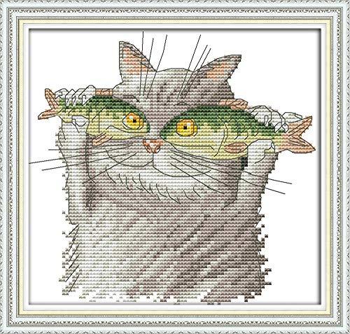 WOWDECOR Kit de broderie au point de croix pour chat et poisson animaux 11CT estampillé DIY DMC Needlework facile débutant