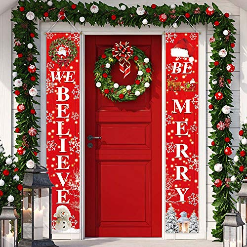 Funnytree Merry Christmas Porch Sign Winter Red Xmas We Belive Be Merry Yard Banner Polyester Home House Garden Door Wall Hanging Decor Windproof Backdrop Birthday Party Supplies 2pcs