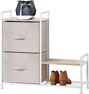 mDesign Estantería organizadora con dos cajones de tela – Cómoda metálica con baldas de madera – Organizador con cajones para guardar pantalones, camisetas, tops o ropa interior – beige