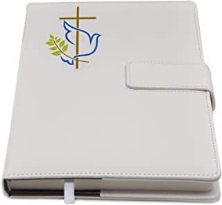 The Peace Dove & Cross Refillable Writing Journal | Faux Leather Cover, Magnetic Clasp + Pen Loop | Blank Notebook | 200 Lined Pages, 6 x 8.5 Inches for Spiritual, Religious | The Amazing Office