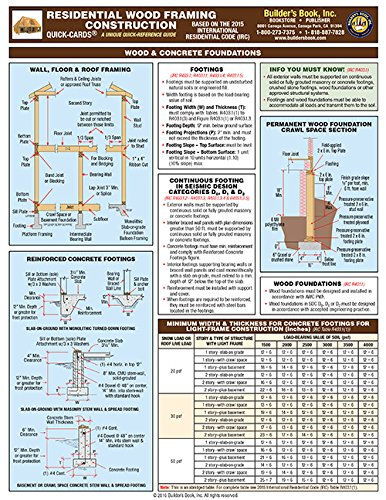 Residential Wood Framing Construction Quick-Card based on 2015 IRC