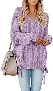 Ybenlow Womens Plus Size Pullover Sweaters Oversized Cable Knit V Neck Lace Up Chunky Long Sleeve Jumper Tops
