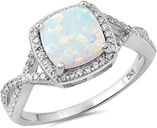 Infinity Style Twisted Prong Cubic Zirconia and White Opal .925 Sterling Silver Ring Sizes 5-10