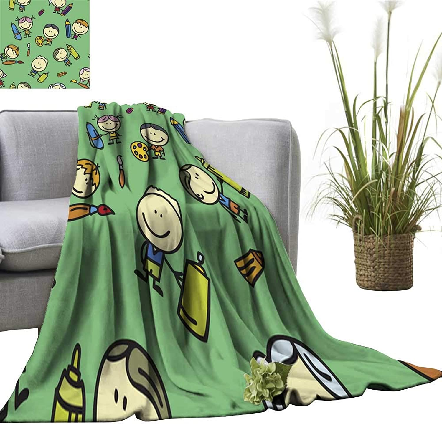 Blanket Sheets Drawing Kids Pattern Traveling,Hiking,Camping,Full Queen,TV,Cabin 51  Wx60 L