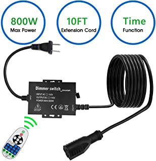Outdoor Dimmer Switch Outdoor Plug-in Dimmer Switch for String Lights, Max 800W Bulbs Dimmer Switch with 10 Ft Extension Cord 3 Prong 100 Ft Wireless Remote Control, Timer Function