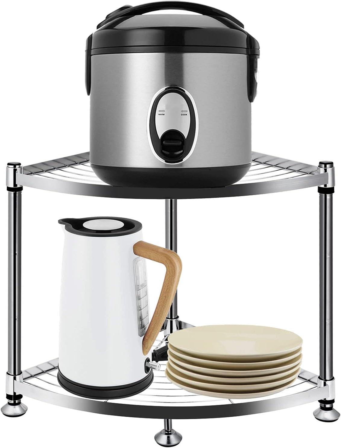 JXRCW Portland Mall 2-Tier Stainless Max 46% OFF Steel Kitchen Corner Holde Rack Shelf Pot