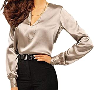 OTW Womens Sexy V Neck Shirts Pullover Slim Long-Sleeve Tee Shirts Blouse Top