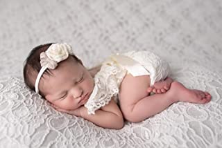 Baby Photo Props Newborn Lace Romper Photography Outfits (Yellow)