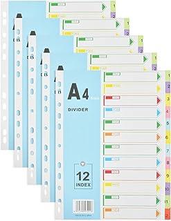YOTINO 5 Pièces Feuillets Intercalaires 12 Positions, Intercalaires Numérique A4 de Couleurs Assorties pour Organiser des ...
