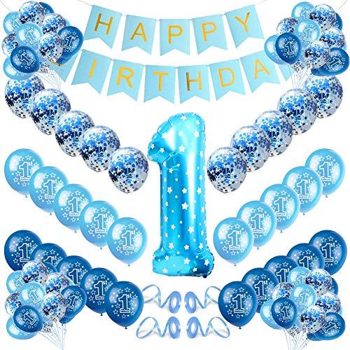 Globos de cumpleaños 1 año,Globo 1er año Cumpleaños Decoración,Globo 1er año Cumpleaños,cumpleaños 1 año,globos confeti (azul)