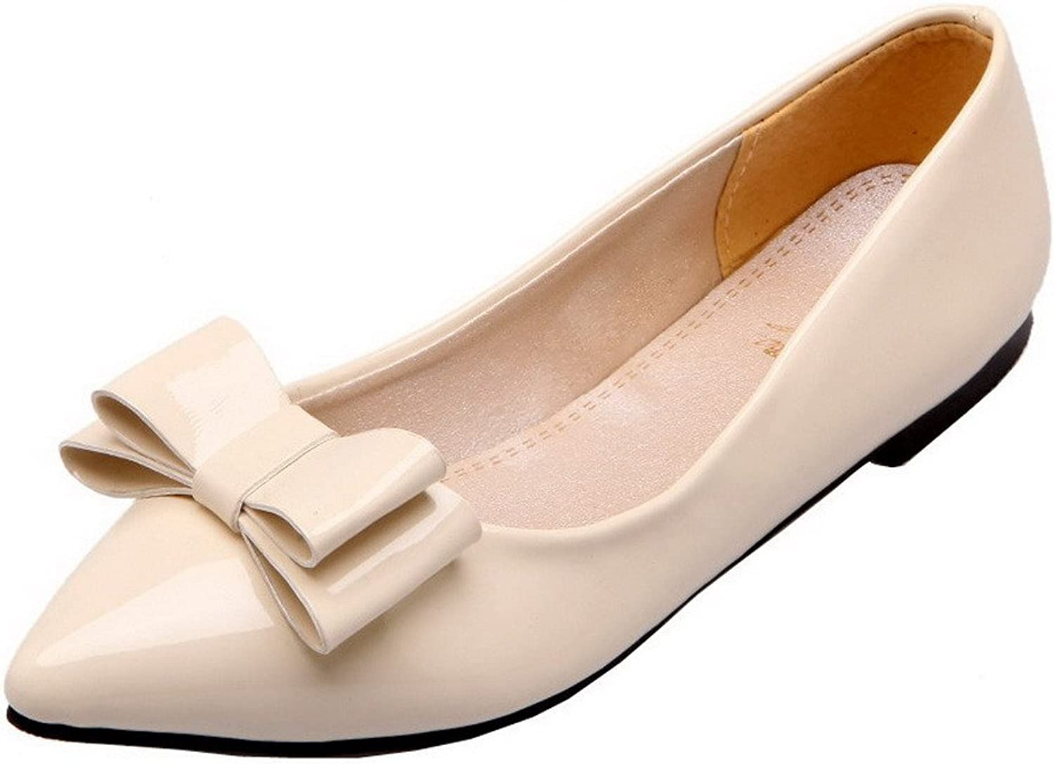 WeenFashion Women's Patent Leather Low-Heels Closed-Toe Pull-On Pumps-shoes