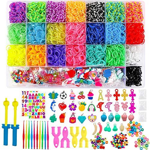 BAKHK Loom Bänder Set zum Basteln, 6800 Bunt Gummibänder Starter Box 100 S-Clips, 100 Perlen, 35 Charms, 10 Häkelnadeln, 4 Y-Loom, 2 größere Häkelnadeln, 2 Blätter Aufkleber