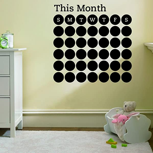 ZOOYOO Cute Designed Removed Circle Shape Vinyl Monthly Calendar Blackboard Sticker Working Calendar Vinyl Blackboard Wall Sticker