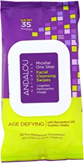 Andalou Naturals Age Defying Micellar Facial Swipes, 35 Count Packets (Pack of 3)