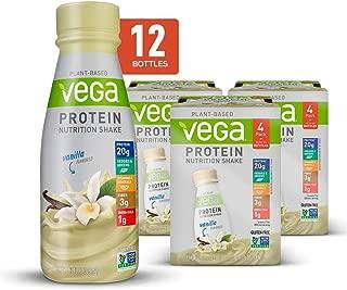 Vega Protein Nutrition Shake Vanilla - Ready to Drink, Plant Based Vegan Protein, Gluten Free, Dairy Free, Soy Free, Vegetarian, Vitamins, Non GMO, 11 Fl Oz (12 Count)