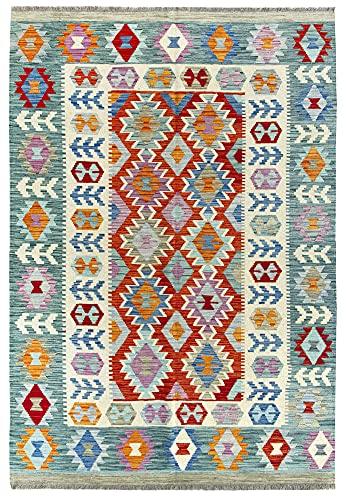 HAMID Alfombra Kilim Herat - 100% Lana Tejida a Mano - Alfombra étnica de salón, Dormitorio, Comedor (240x170cm)