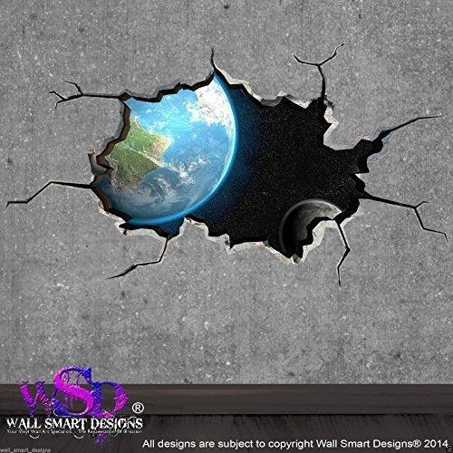 Preisvergleich Produktbild Wall Smart Designs Platz Meteor Asteroid Welt gebrochenen 3D Art Wand Aufkleber Jungen Aufkleber Wandbild 13