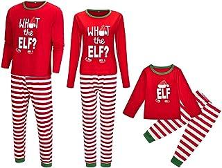 Pijama Familiar de Navidad Invierno 2020 Disfraz Navidad Divertidos What The Elf? Ropa de Dormir Camiseta Manga Larga y Pantalones Matching Christmas Pajamas