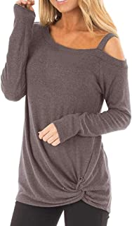 Ladies Sexy Casual Tops,Long Sleeves Soft Knot Side Twist Blouse T-Shirt