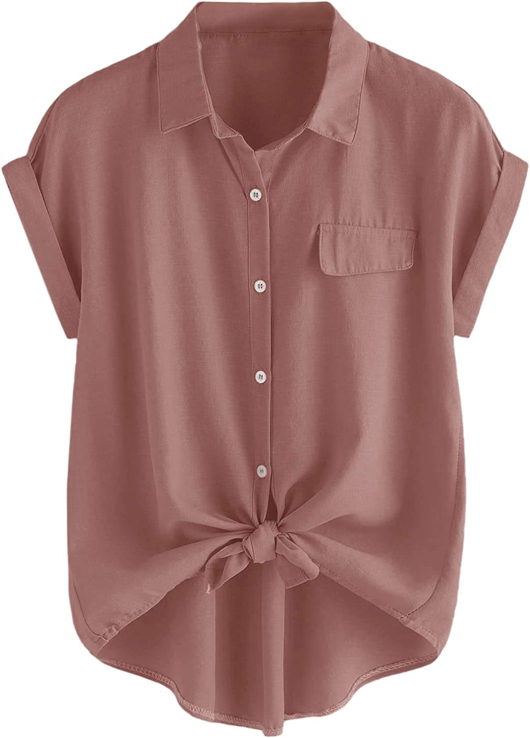 Romwe Women's Plus Size Casual Short Sleeve Button Down T Shirts Loose Tops