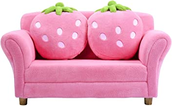 Costzon Kids Sofa, with 2 Cute Strawberry Pillows, Children Couch Armrest Chair Double Seats, Toddler Lounge Bed 2 in 1, Wooden Frame and Coral Fleece Surface for Bedroom, Living Room, Baby Room(Pink)