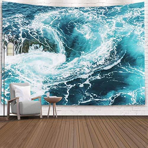 Tapiz de olas para colgar en la pared, decoración de arte para el hogar, gran ola con el monte Fuji, estilo japonés, impresión en bloques de madera con manta de pared del océano, decoración del hogar