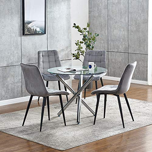 Round Glass Dining Table and 4 Grey Velvet Chairs Set for Small Space Dinette, 5 Pieces Kitchen Set Clear Round Tempered Glass Table and Set of 4 Occasional Chairs for Restaurant Party Spare Room
