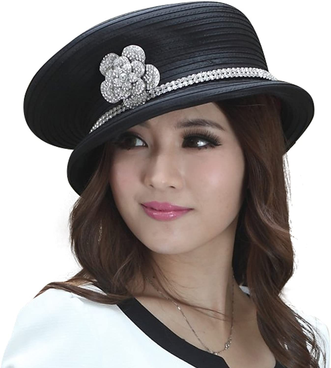 June's Young Women Church Hat Fashion Top Hat Brooch Stones Good Quality