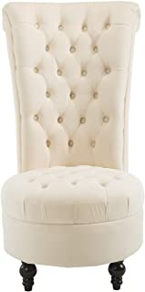 HOMCOM Retro High Back Armless Chair Living Room Furniture Upholstered Tufted Royal Accent Seat, Cream White
