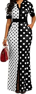 Polka Dot Print Pocket Short Sleeve Bodycon Dress Women's Slit Maxi Dress