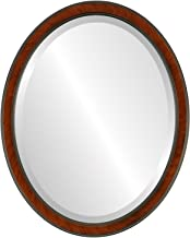 Decorative Mirror for Wall | Framed Oval Beveled Wall Mirror | Toronto Style - Vintage Cherry - 22x26 outside dimensions