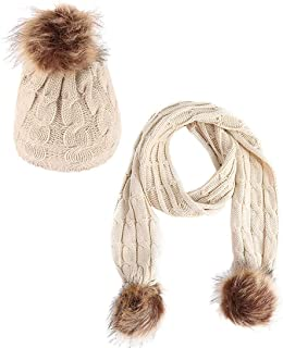 AMAZACER Baby Kids Winter Hats Boys Girls Pom Pom Beanie Hat Scarf Set (Color : Beige)