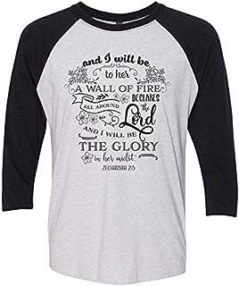 Trenz Shirt Company Christian Scripture Zechariah 2:5 Ladies Baseball Tee-Black-Large