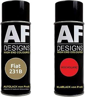 Autolack Spraydose Set für FIAT 231B Beige Cappuccino Basislack Klarlack Sprühdose 400ml