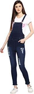 StyleStone (3343WhtPatchDistress) Women's Stretchable Dungaree with Distressed Effect