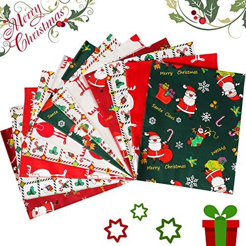 12 Pieces Christmas Fat Quarters Fabric Christmas Fabric Quilting Fabric Squares Precut Fabric Bundles for DIY Craft Christmas Party Supplies (50 x 40 cm)