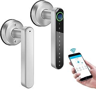 قفل درب هوشمند WiFi قفل درب اثر انگشت ، بلوتوث قفل درب ورودی بدون کلید با قفل صفحه کلید با اثر انگشت/TTLock APP/کد/کلید ، قفل درب اهرمی هوشمند بیومتریک برای آپارتمان اداری اتاق خواب