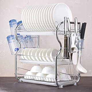 3-Tier Dish Drying Rack, Sonmer Dish Drying Rack Kitchen Collection Shelf Drainer Organizer - Ship from US