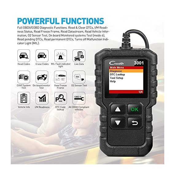 """LAUNCH Creader 3001 OBD2 Scanner Automotive Car Diagnostic Check Engine Light O2 Sensor Systems OBD Code Readers Scan… 2 : LAUNCH Creader 3001 obd2 scanner read and clear fault codes for engine system. In addition, Creader 3001 built in fault codes definition lookup library. LAUNCH Creader 3001 obd2 scanner works on most 1996 and newer US-based vehicles that are OBDII compliant (OBDII protocols: KWP2000, ISO9141, J1850 VPW, J1850 PWM and CAN). """"PLUG AND PLAY"""" scan tool, equipped with a 2. 5 feet long cable and made of a very thick flexible insulator, very easy to use for beginners. : You can use this obd2 scanner to check the status of emission-related monitors misfire system and fuel system, make sure the monitor was set before taking it to smog, help you pass the Smog Check easily, save your money for paying fine tickets. : Turns off the MIL , if you finished repairing the faulty components, then clear the fault codes and turn on the vehicle ignition, it is surprise that you will find the check engine light is off. And more, LAUNCH Creader 3001 obd2 scanner can read the car's information such as VIN number."""