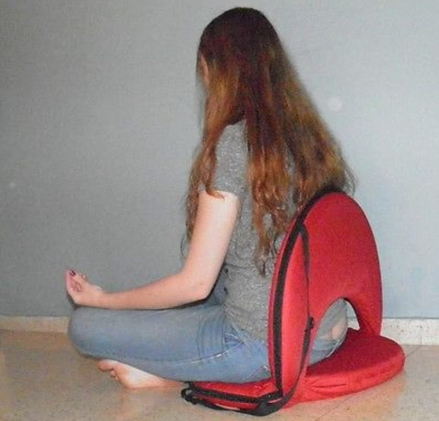 Red chair legless fold Meditation Vipassana stadium bleacher yoga lower back support